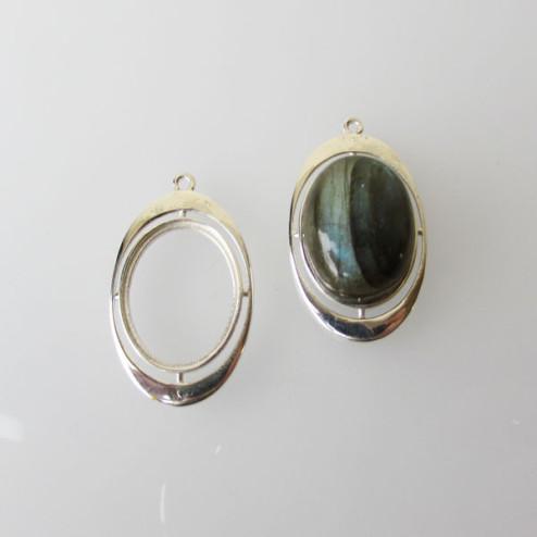 Sterling zilveren (925) hanger met setting voor ovale steen (13 x 18 mm)
