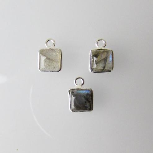 Sterling zilveren (925) bedel, vierkant, 6-6.5 mm, LABRADORIET, per stuk