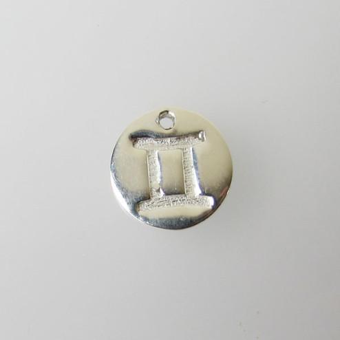 Sterling zilveren (925) bedel, TWEELINGEN, sterrenbeeld hanger, 11 mm, per stuk