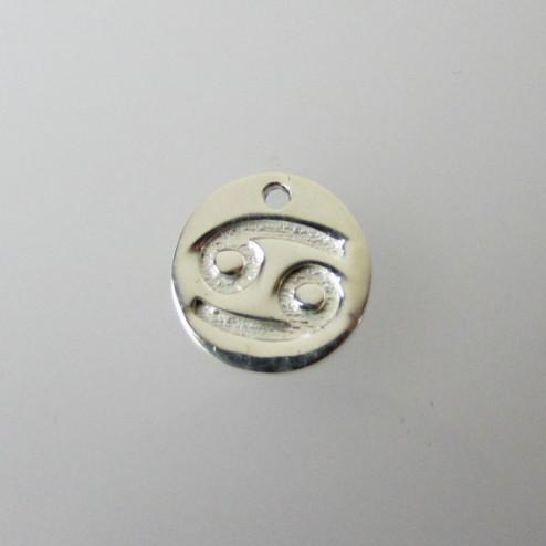 Sterling zilveren (925) bedel, KREEFT, sterrenbeeld hanger, 11 mm, per stuk
