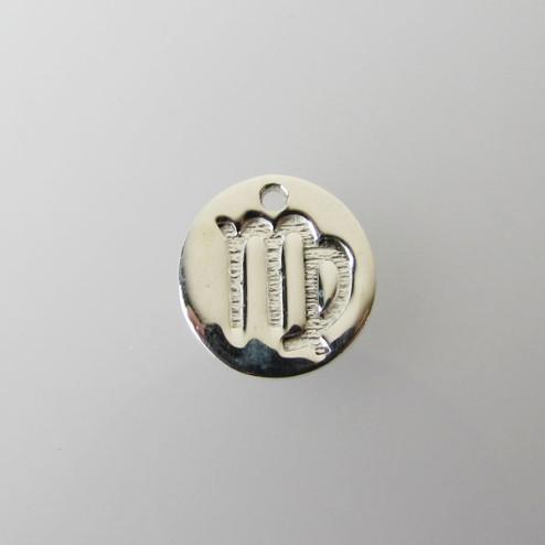 Sterling zilveren (925) bedel, MAAGD, sterrenbeeld hanger, 11 mm, per stuk