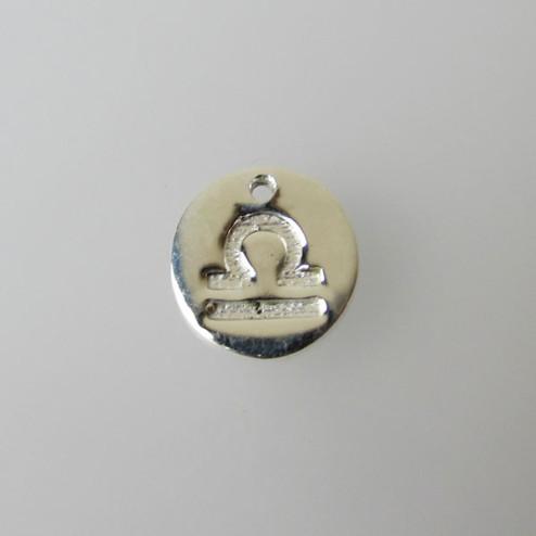 Sterling zilveren (925) bedel, WEEGSCHAAL, sterrenbeeld hanger, 11 mm, per stuk