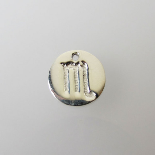 Sterling zilveren (925) bedel, SCHORPIOEN, sterrenbeeld hanger, 11 mm, per stuk