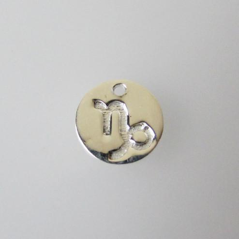 Sterling zilveren (925) bedel, STEENBOK, sterrenbeeld hanger, 11 mm, per stuk