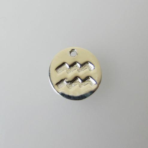 Sterling zilveren (925) bedel, WATERMAN, sterrenbeeld hanger, 11 mm, per stuk