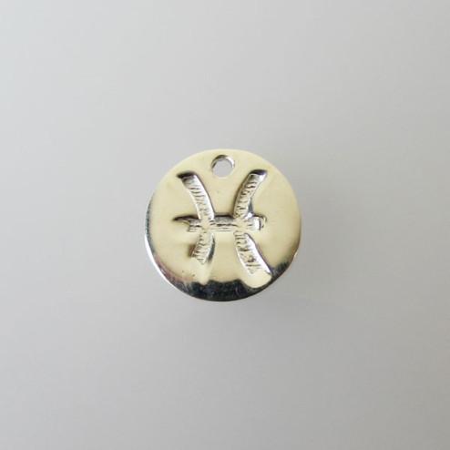 Sterling zilveren (925) bedel, VISSEN, sterrenbeeld hanger, 11 mm, per stuk