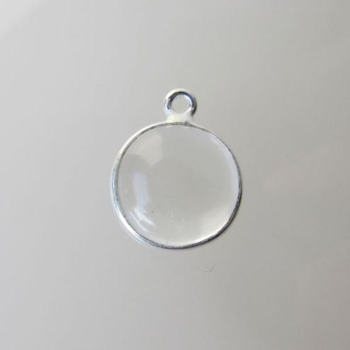 Sterling zilveren (925) ronde bedel, KRISTAL, 10 mm, per stuk