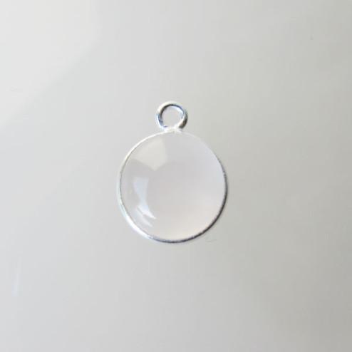 Sterling zilveren (925) ronde bedel, ROZENKWARTS, 10 mm, per stuk