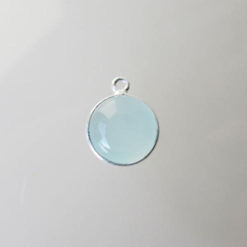Sterling zilveren (925) ronde bedel, ZEEGROENE CHALCEDOON, 10 mm, per stuk