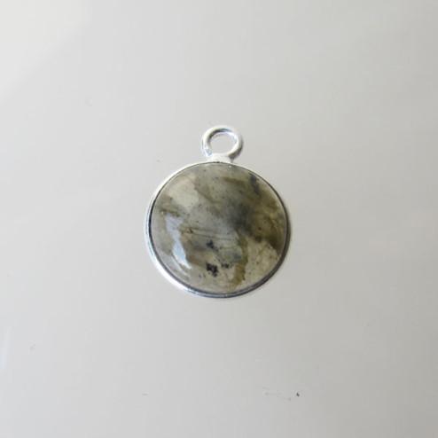 Sterling zilveren (925) ronde bedel, LABRADORIET, 10 mm, per stuk