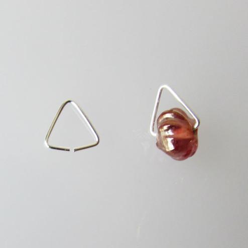 Sterling zilveren (925) hangeroog - klem, driehoekig, 8 mm, per 10 stuks