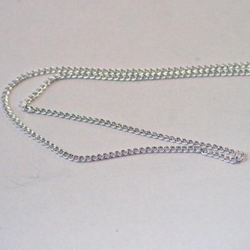 Sterling zilveren (925) jasseron, curb-design, zeer fijn, 1.2 mm, verpakt per meter