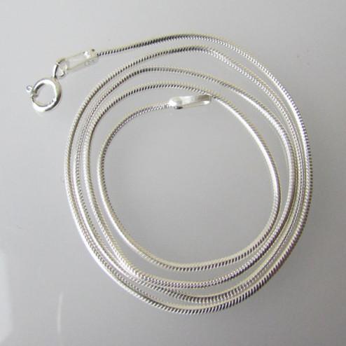 Sterling zilveren (925) SNAKE ketting, slangen collier, afgewerkt, 40 cm x 1 mm, per stuk