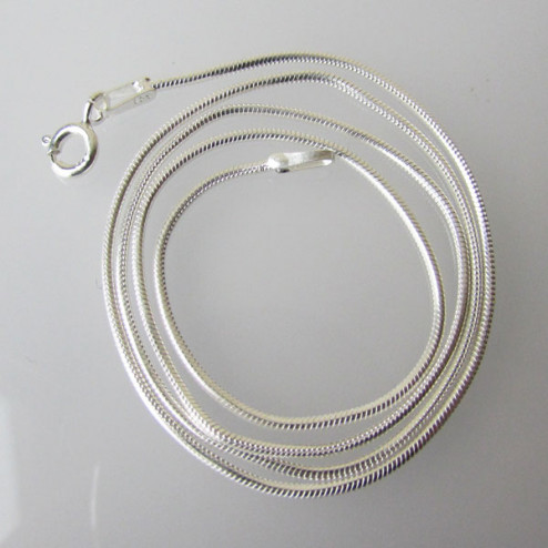 Sterling zilveren (925)  SNAKE ketting, slangen collier, afgewerkt, 45 cm x 1 mm, per stuk