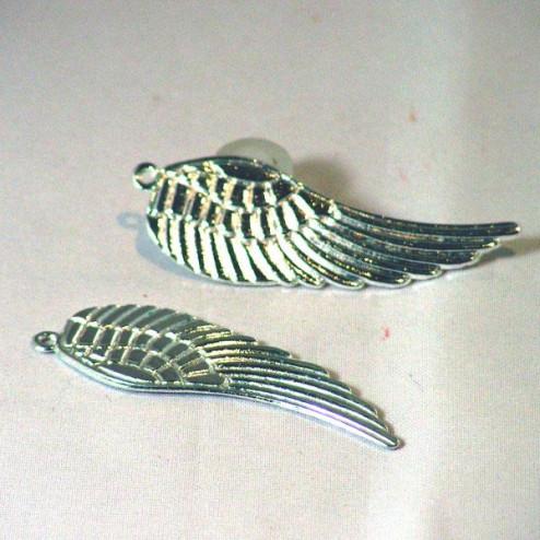 Zilverkleurige bedel, engelenvleugel, 50 x 15  mm, verpakt per 30  stuks