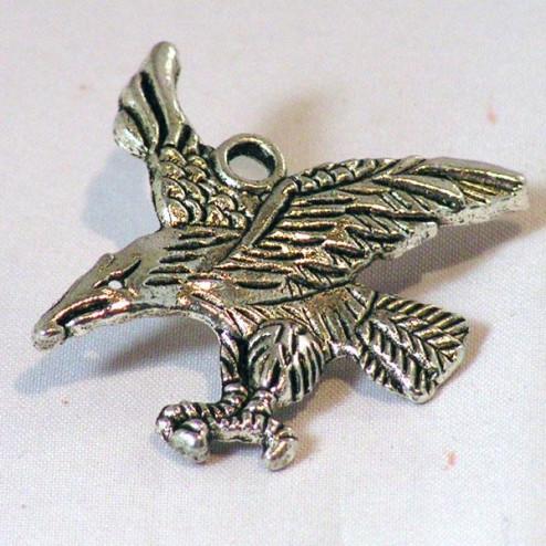 Zilverkleurige bedel, roofvogel, 40 x 40 mm, verpakt per 10  stuks