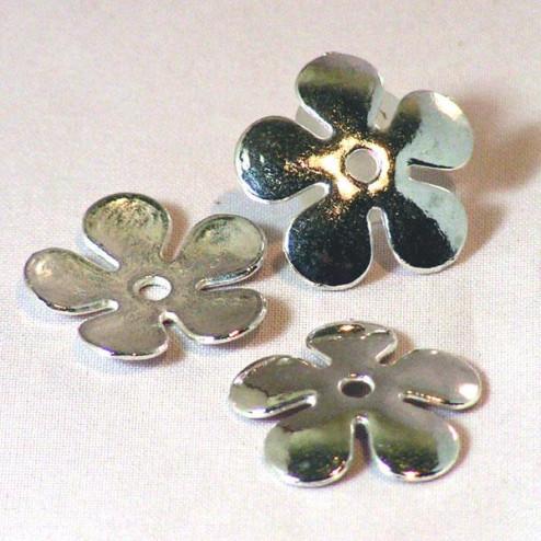 Zilverkleurig kralenkapje, 20 mm, bloem, verpakt per 20 stuks