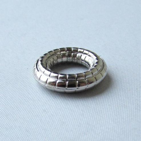 Zilverkleurige metallook spacer, 20 x 4 mm, grootgatskraal, per 10 stuks