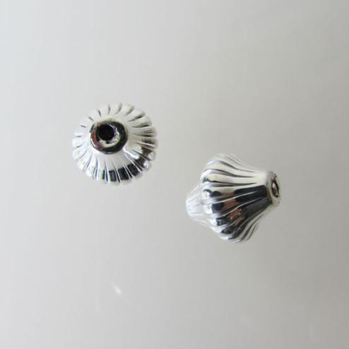 Sterling zilveren (925) kraal, gestreept, bicone, 12 x 12 mm, per stuk