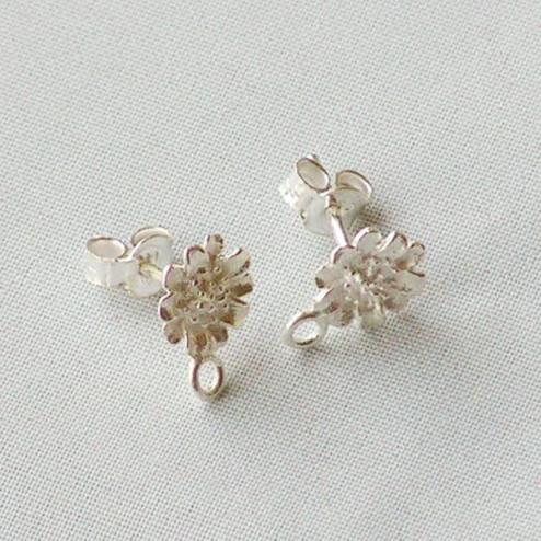 Sterling zilveren (925) oorsteker, met bloem, verpakt per 10 stuks