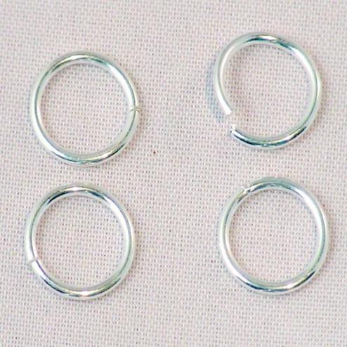 Sterling zilveren (925) ring, 9 mm, open, verpakt per 30 stuks