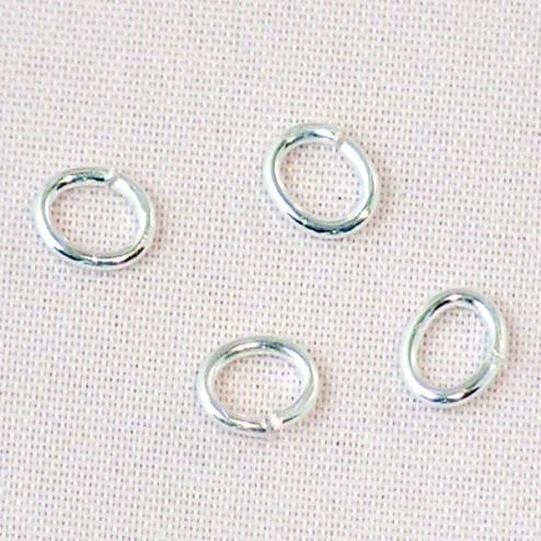Sterling zilveren (925) ovale  ring, 6 x 4  mm, open, verpakt per 30 stuks