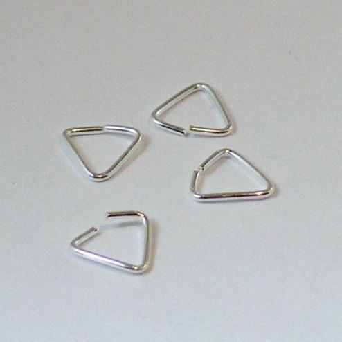Sterling zilveren driehoekige ring, 8 mm, open, verpakt per 50 stuks