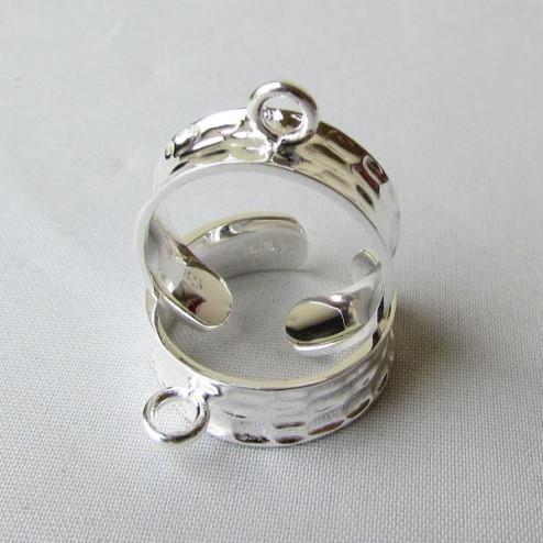 Sterling zilveren (925) verstelbare ring met 1 ringetje, bewerkt, per stuk
