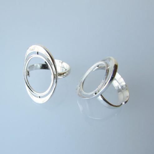 Sterling zilveren (925) ring met setting voor ovale steen (13 x 18 mm), verstelbaar in maat, per stuk