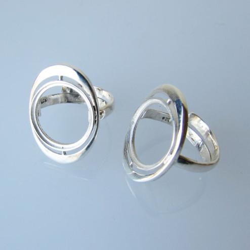 Sterling zilveren (925) ring met setting voor ronde steen (15mm), verstelbaar in maat, per stuk