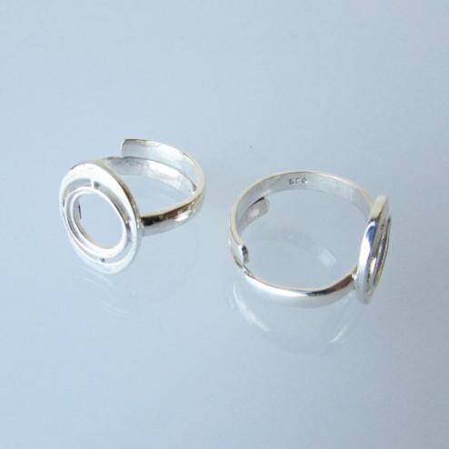 Sterling zilveren (925) ring met setting voor ronde steen (8mm), verstelbaar in maat, per stuk