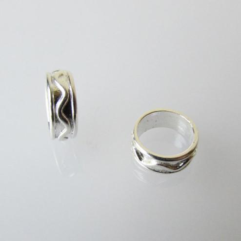 Sterling zilveren (925) spacer, bewerkt, 10.4 x 3.8 mm, groot gat, per stuk