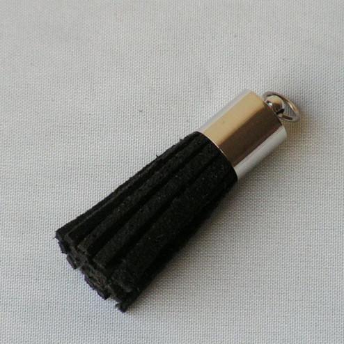 Suede kwastje, zwart, 38 mm, per stuk