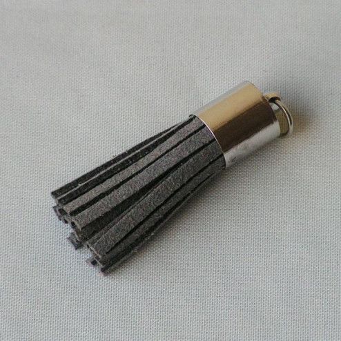 Suede kwastje, donkergrijs, 38 mm, per stuk