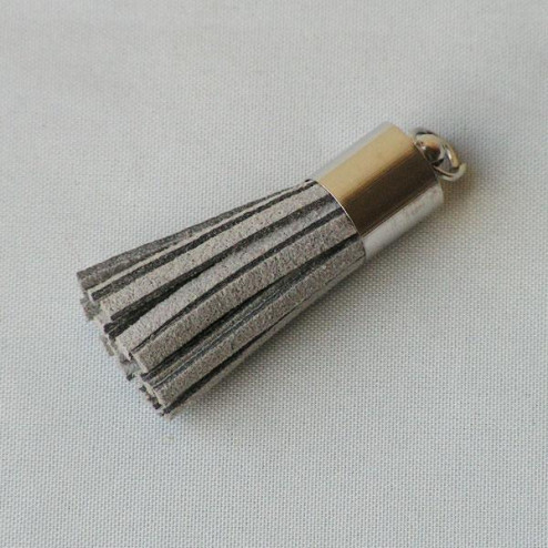 Suede kwastje, grijs, 38 mm, per stuk
