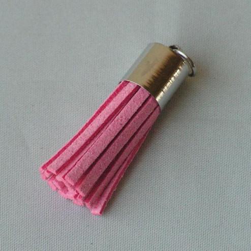 Suede kwastje,  roze, 38 mm, per stuk