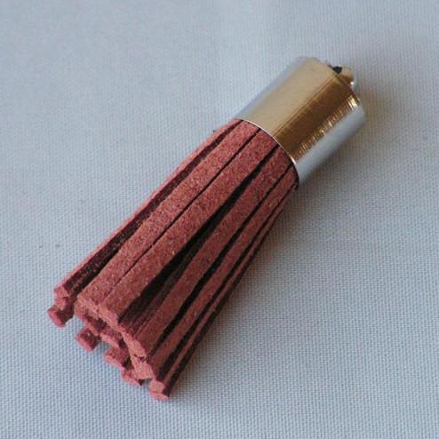 Suede kwastje,  roodbruin, 38 mm, per stuk