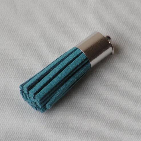 Suede kwastje,  donker turkoois, 38 mm, per stuk