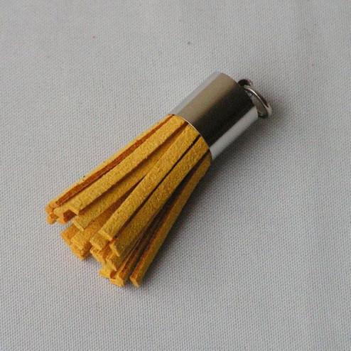 Suede kwastje,  donkergeel, 38 mm, per stuk