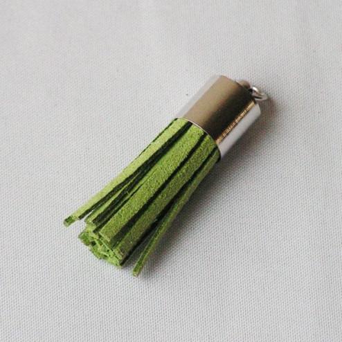 Suede kwastje,  groen, 38 mm, per stuk