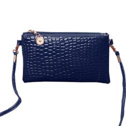 Klein handtasje, donkerblauw, krokodil motief, PU leer