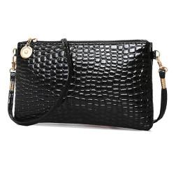Klein handtasje, zwart, krokodil motief, PU leer