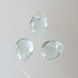 Briolette, aquamarijn, gefacetteerd, 9 x 11 mm, per stuk