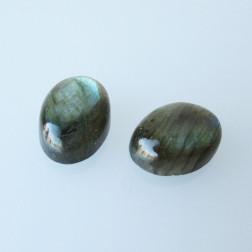 Cabochon Labradoriet, 18 x 13 mm, grijs-groen, verpakt per stuk