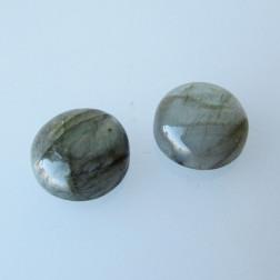 Cabochon Labradoriet, 15 mm, rond, grijs-groen, verpakt per stuk
