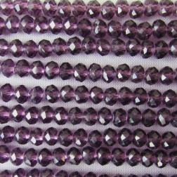 Swarovski-Style Kristalkraal, violet, facetted, rondel, 3 x 4 mm, per streng