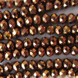 Swarovski-Style Kristalkraal, metallic crystal dorado, facetted, rondel, 3 x 4 mm, per streng