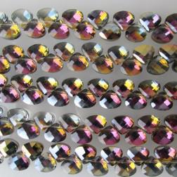 Swarovski-Style Kristalkraal, geel-paars, facetted, Teardrop, 9 x 10 mm, per streng