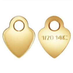 14 K Gold Filled Bedel, kwaliteits-tag, Hartje, 3.5 mm, per stuk