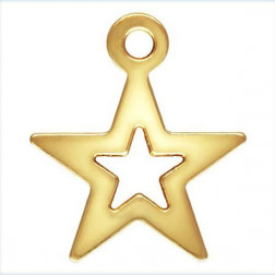 14 K Gold Filled Bedel, Ster, 8 mm, per stuk
